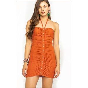 Free People Women's Hold On Mini Dress Rust orange
